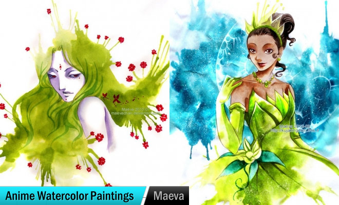 traditional lady watercolor paintings maëva