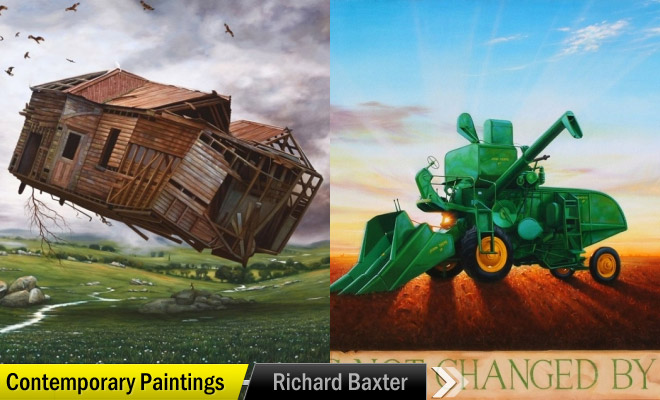 man pulling painting richard baxter