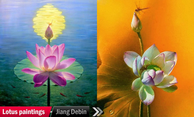 white lotus leaves painting jiang