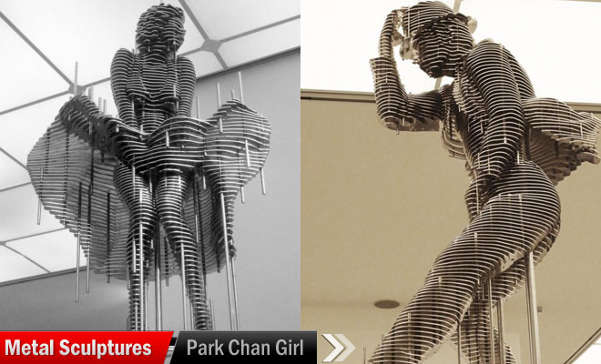 violin girl metal sculptures chan
