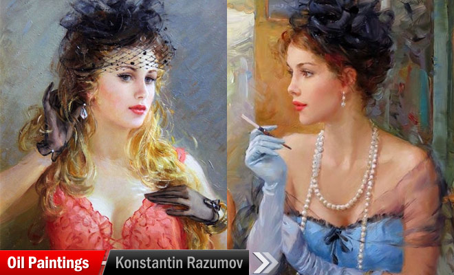 enjoying woman paintings konstantin