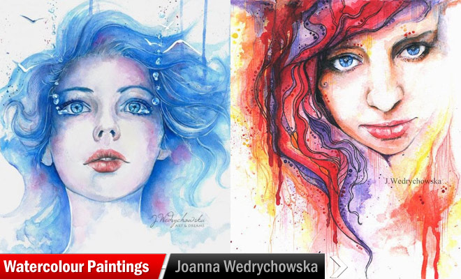 beautiful woman watercolor paintings joanna