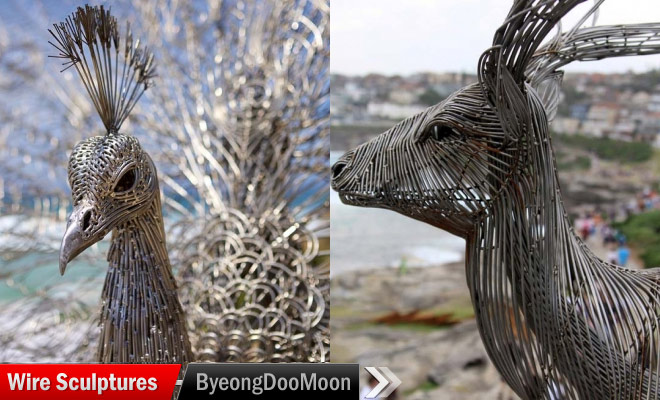 Steel Wire Sculptures by Byeong Doo Moon