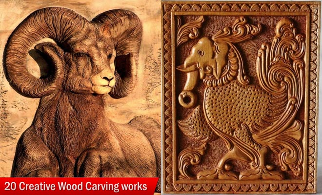 goat wood carving