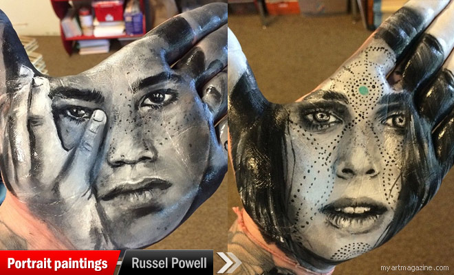 realistic potrait painitngs by russel powell