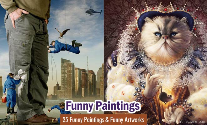 majestic cat funny paintings