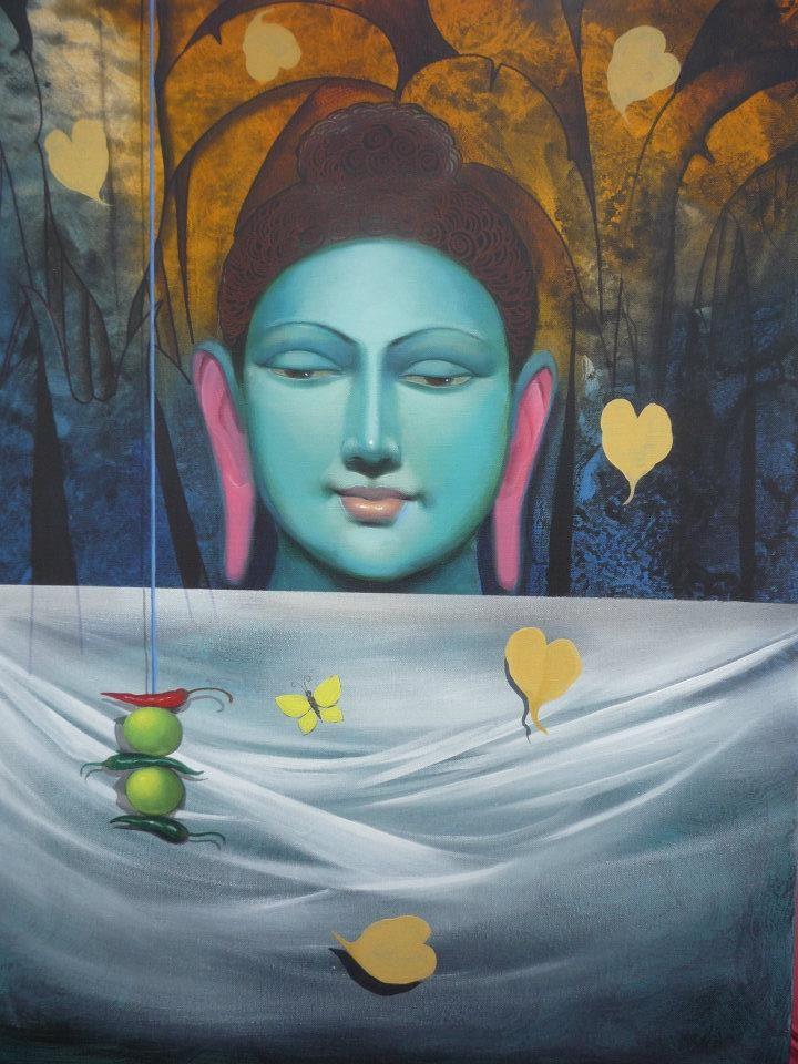 buddha acrylic paintings by raghunath sahoo