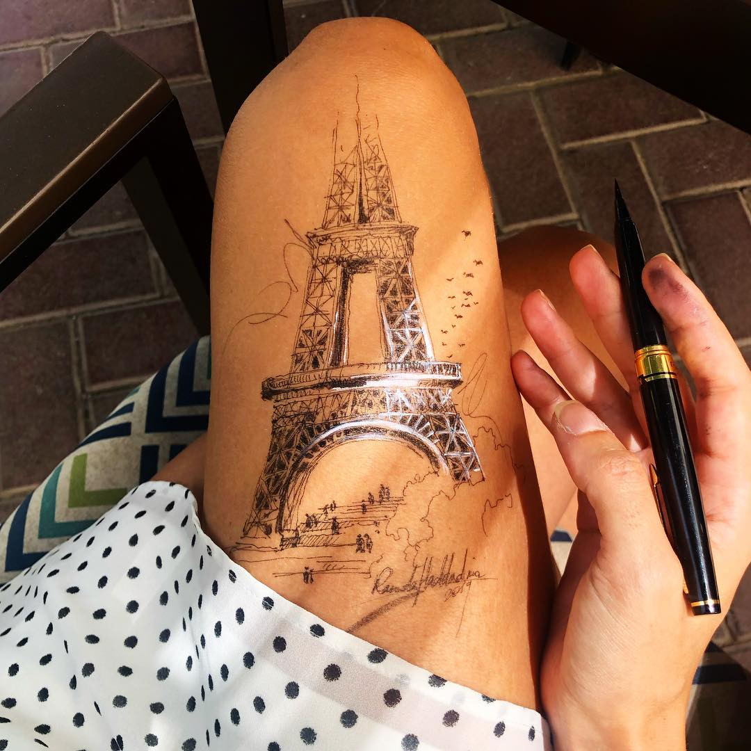 ink drawing thigh eiffel tower randa haddadin