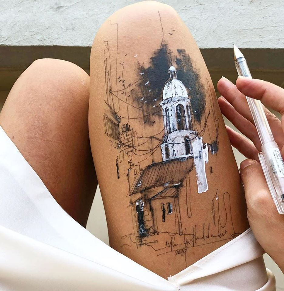 ink drawing thigh church randa haddadin