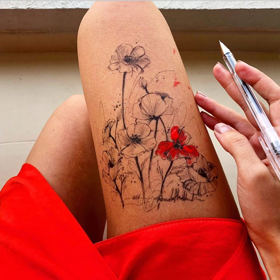 ink drawing thigh red flowers randa haddadin