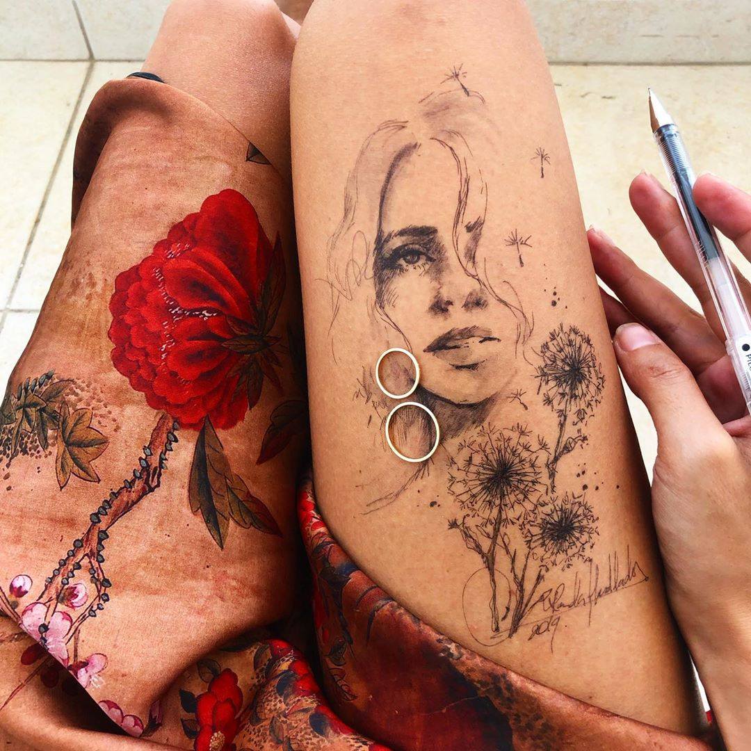ink drawing thigh ring girl randa haddadin