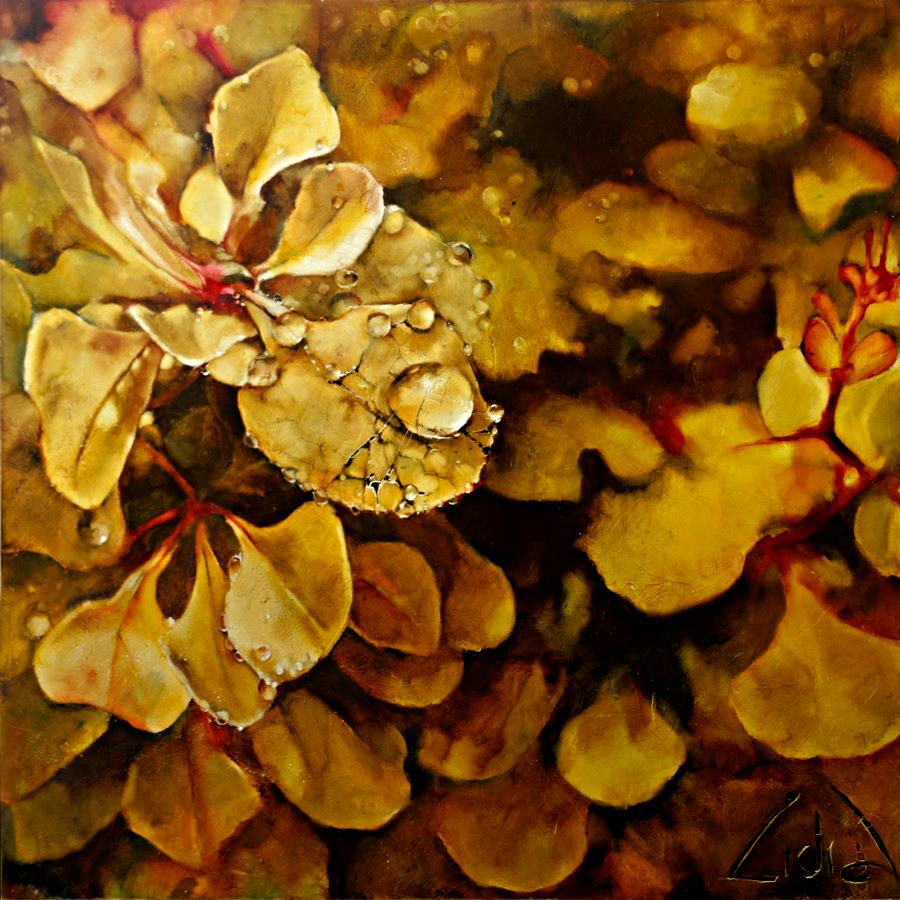 leaves oil painting lidia