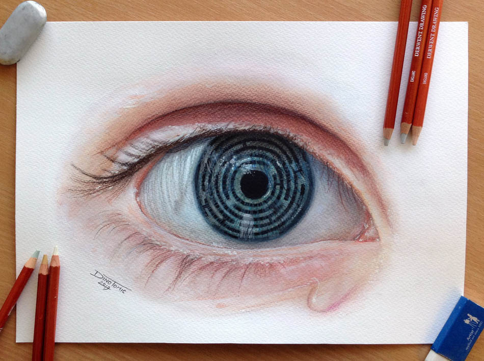 eye color pencil drawing dino