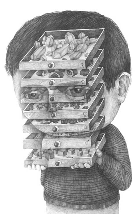 surreal pencil drawing stefan