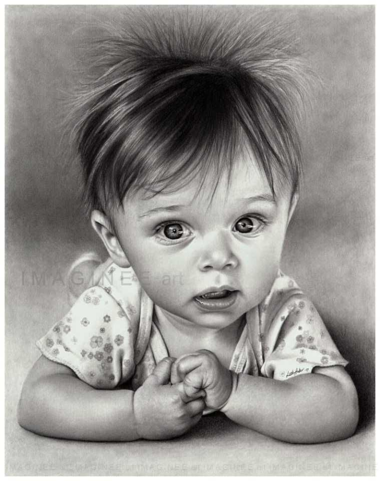 baby pencil drawing linda huber