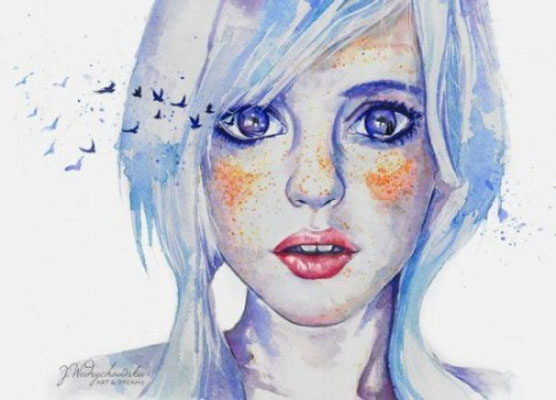 beauty woman watercolor paintings joanna