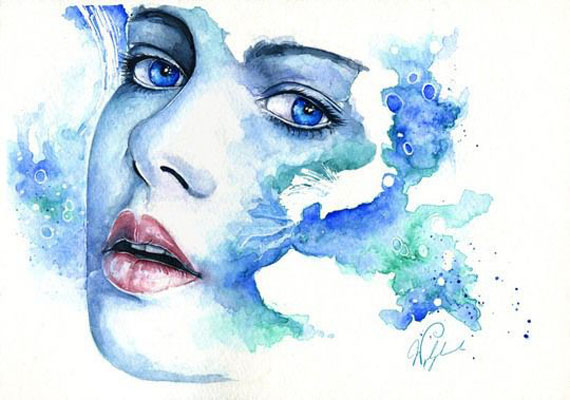 blue woman watercolor paintings joanna