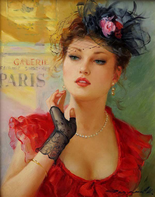 cute woman paintings konstantin