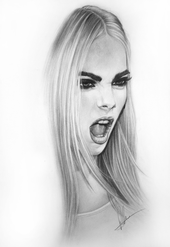 delevingne pencil drawing laura