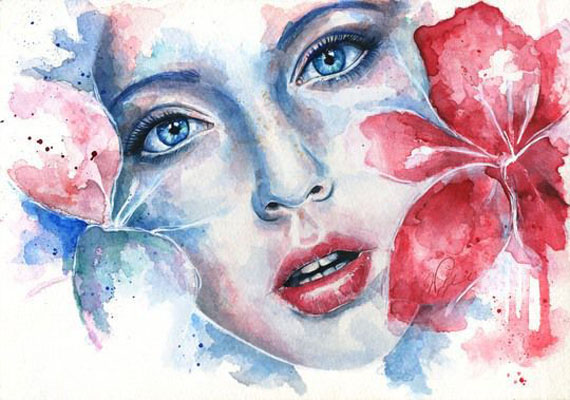 flower woman watercolor paintings joanna