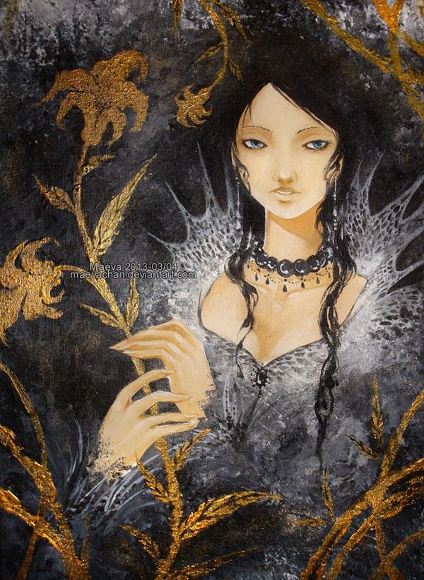gold lily watercolor paintings maëva