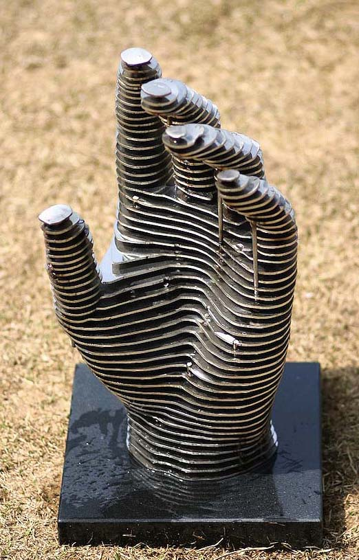 hand metal sculptures chan