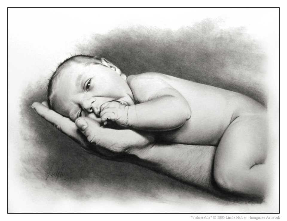 infant pencil drawing linda huber