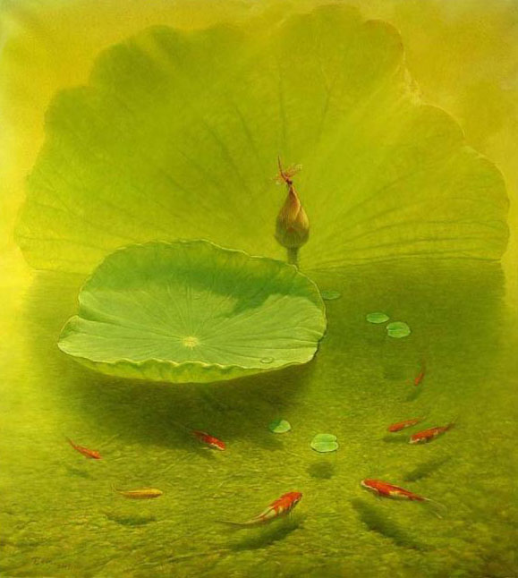 lotus fish painting jiang
