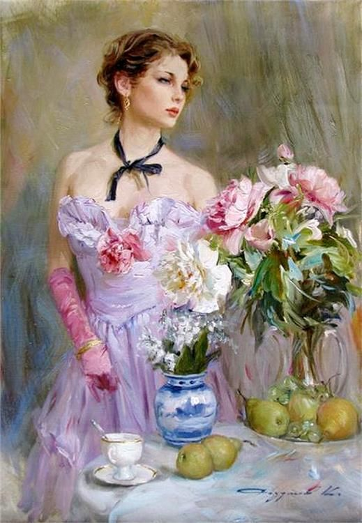 pink dressed woman paintings konstantin