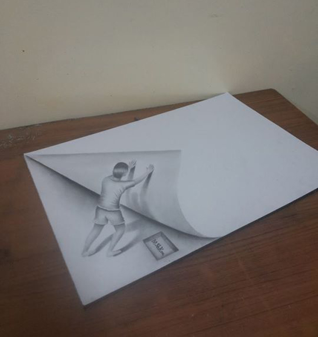 Pushing paper 3d pencil drawing md shkour