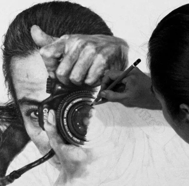 self photo pencil drawing veri