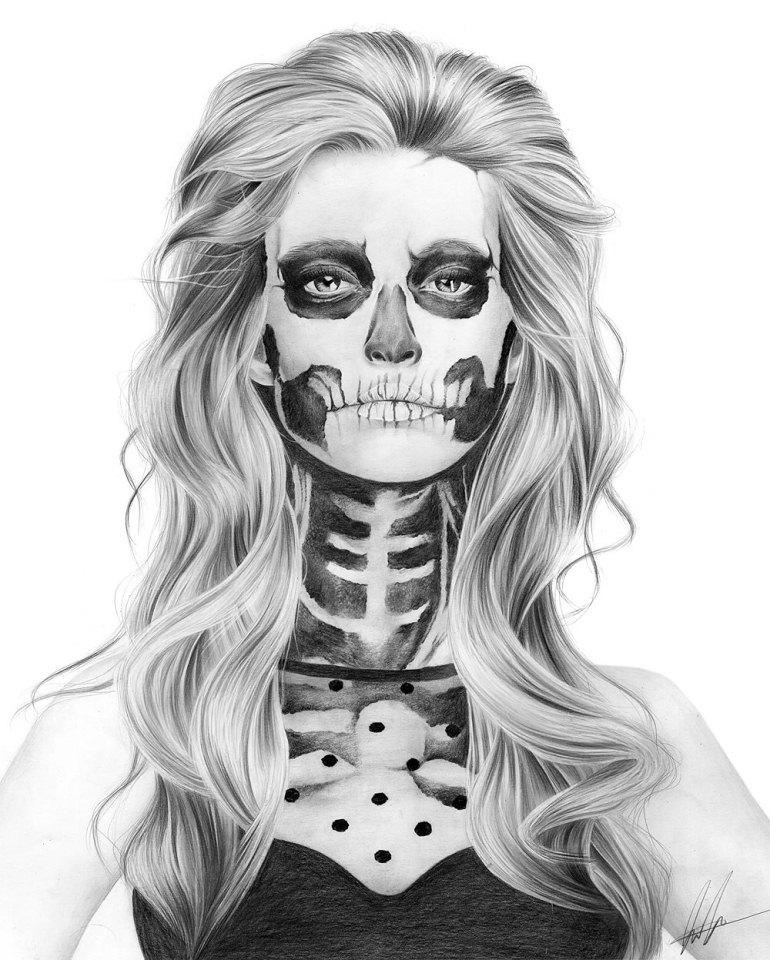 skull face pencil drawing laura