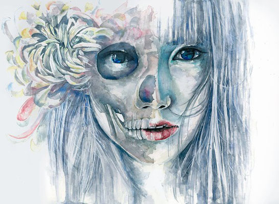skull woman portraits watercolor paintings joanna