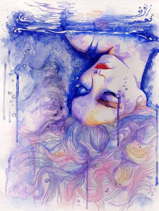 sleeping woman watercolor paintings joanna