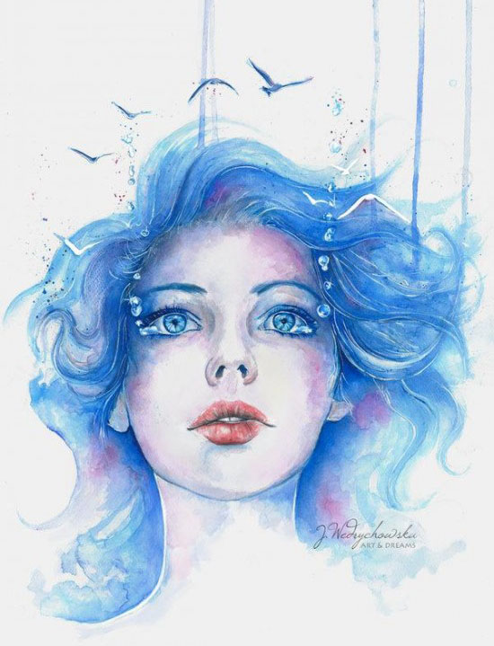 water woman watercolor paintings joanna