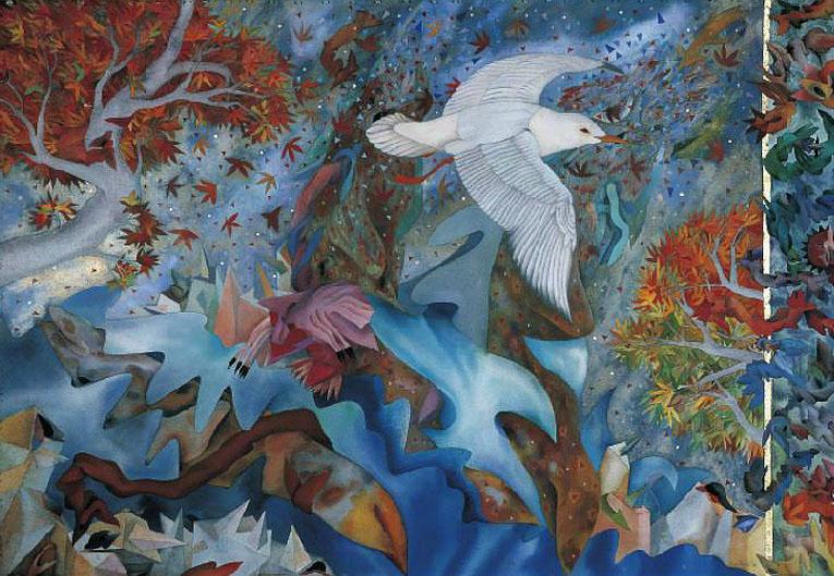 white bird illustration judy