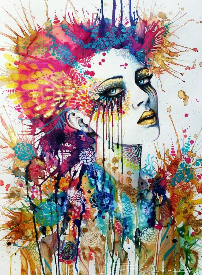 beauty girl watercolor painting svenja
