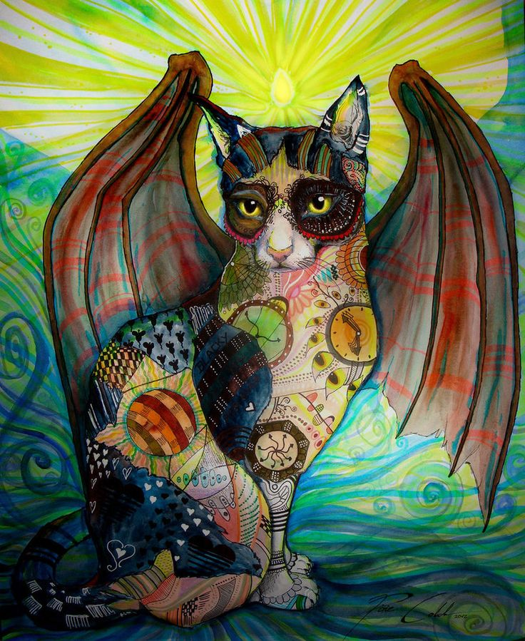 cat wings watercolor painting svenja