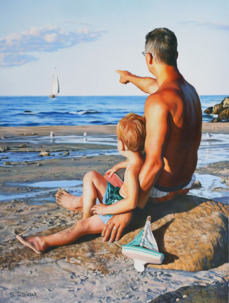father son pastel painting tom_0