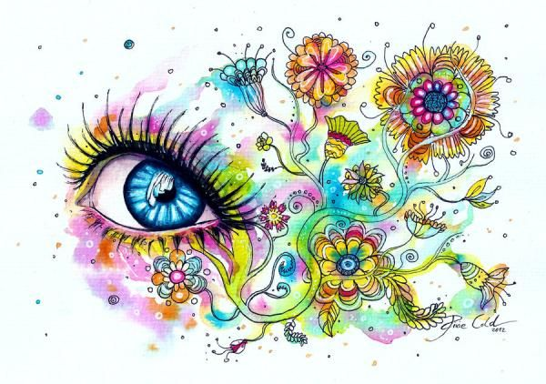 flower eyes watercolor painting svenja