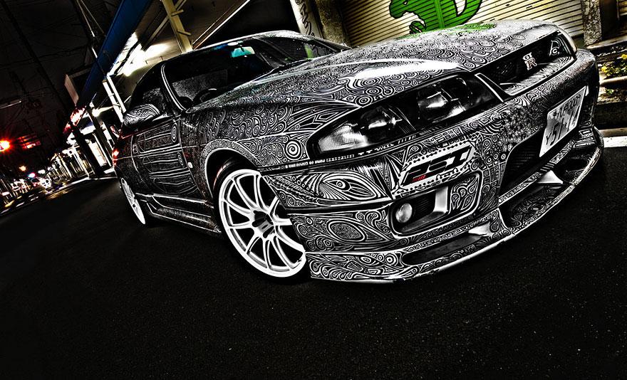 full car doodle drawing