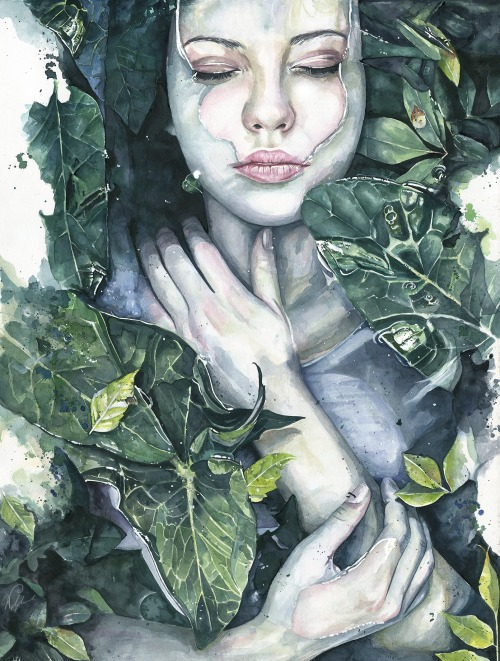 green woman watercolor paintings joanna
