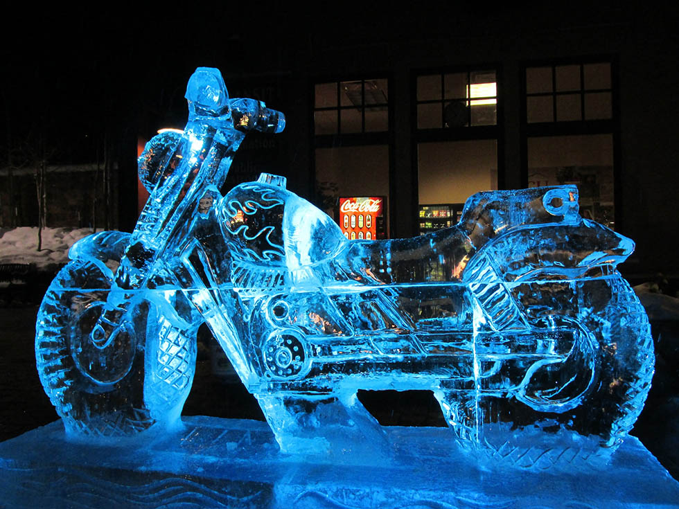 motorcycle ice sculptures