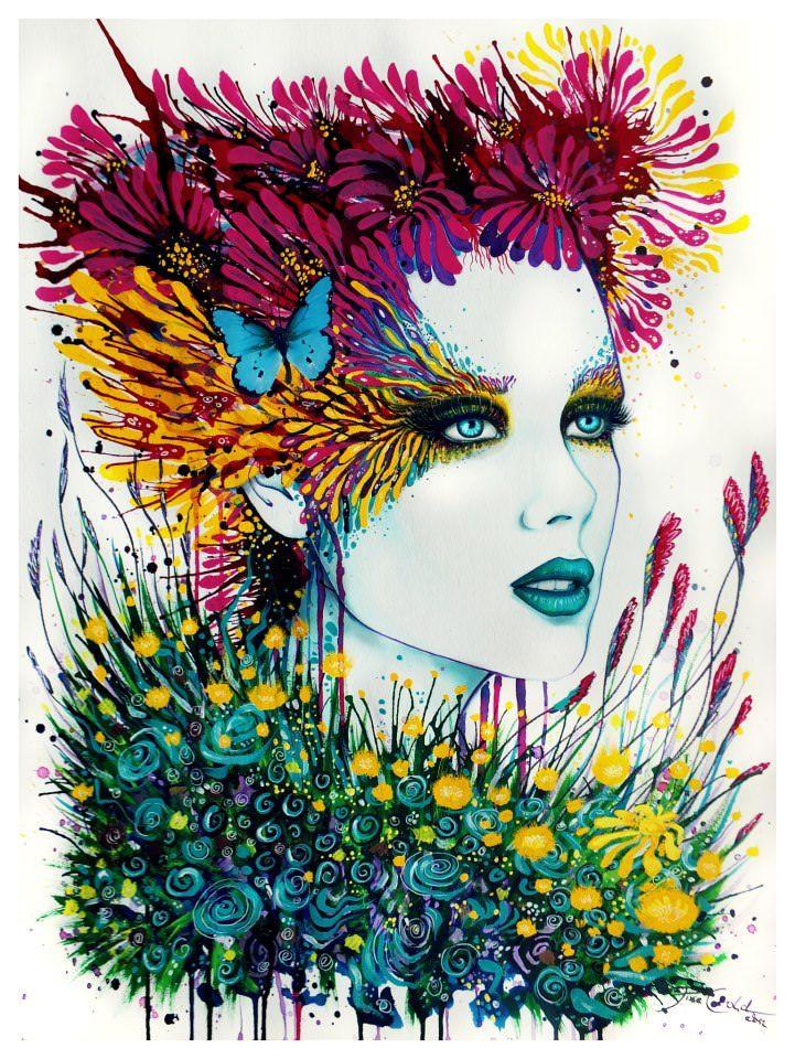 plant girl watercolor painting svenja