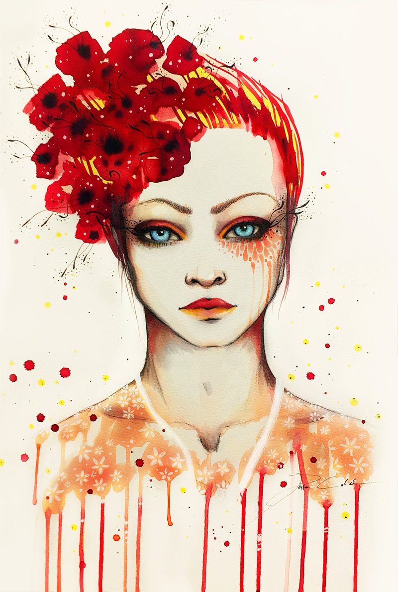 red girl watercolor painting svenja