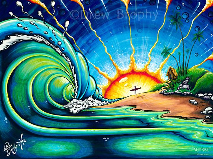 sunrise oil paintings drew