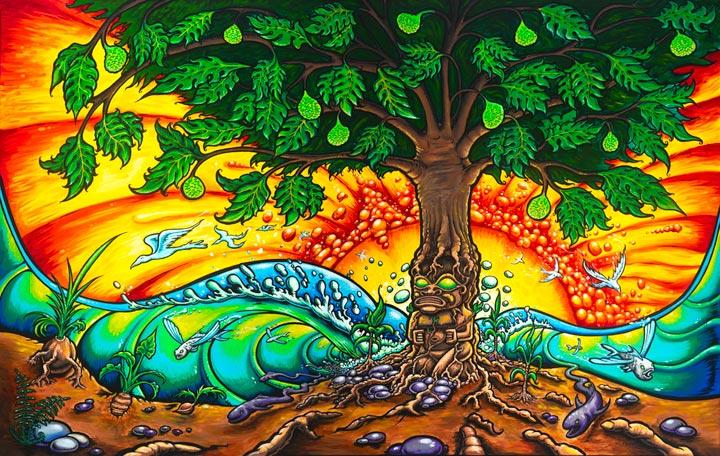 tree oil paintings drew