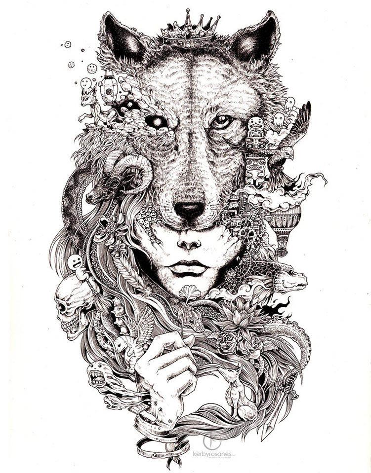 wolf mural kerby