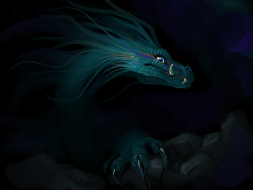 cave dragon digital art by tina