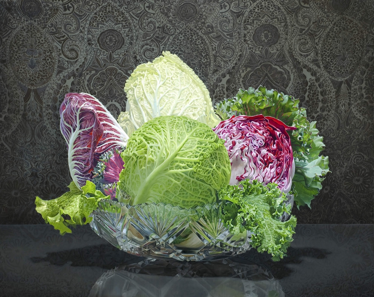 still life oil paintings lettuce eric wert